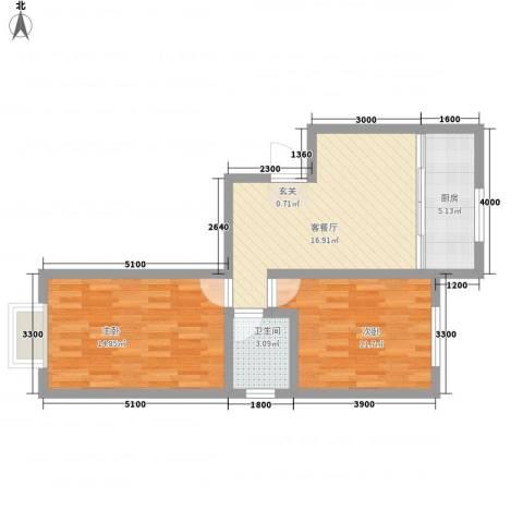 省军区第三干休所2室1厅1卫1厨75.00㎡户型图