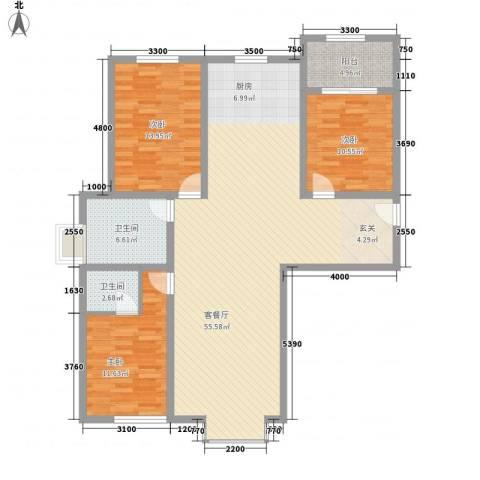 七彩阳光3室1厅2卫0厨149.00㎡户型图