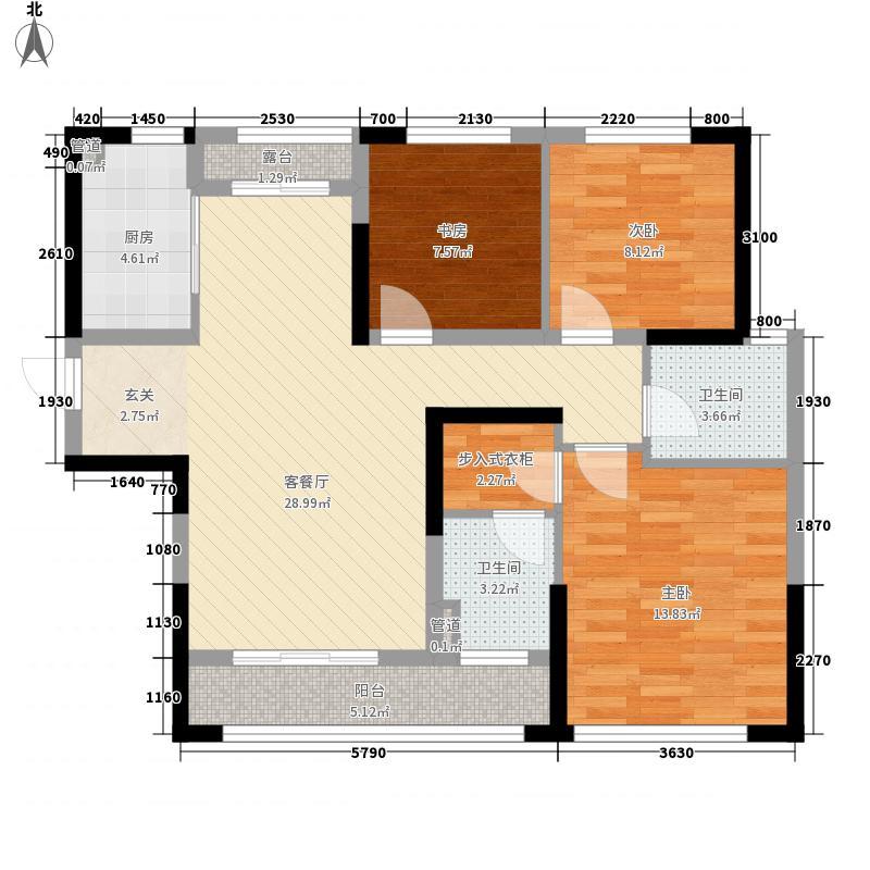 宁波银泰城3室1厅2卫1厨115.00㎡户型图