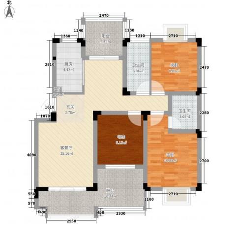 华宸金岸世家3室1厅2卫1厨116.00㎡户型图
