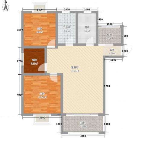 华冶新天地3室1厅1卫1厨118.00㎡户型图
