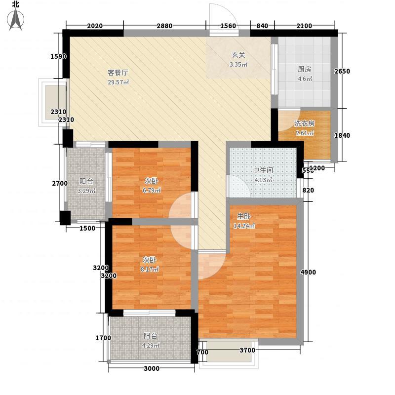 世纪华庭13.60㎡一期标准层尚品观邸户型3室2厅1卫1厨