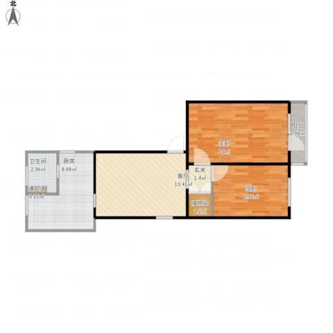 柳林馆南里2室1厅1卫1厨71.00㎡户型图