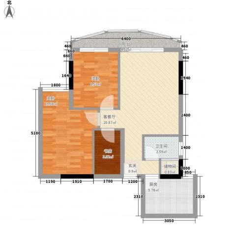 逸景翠园桂香居3室1厅1卫1厨83.00㎡户型图