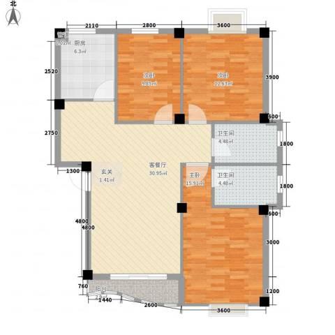 巴黎春天3室1厅2卫1厨122.00㎡户型图