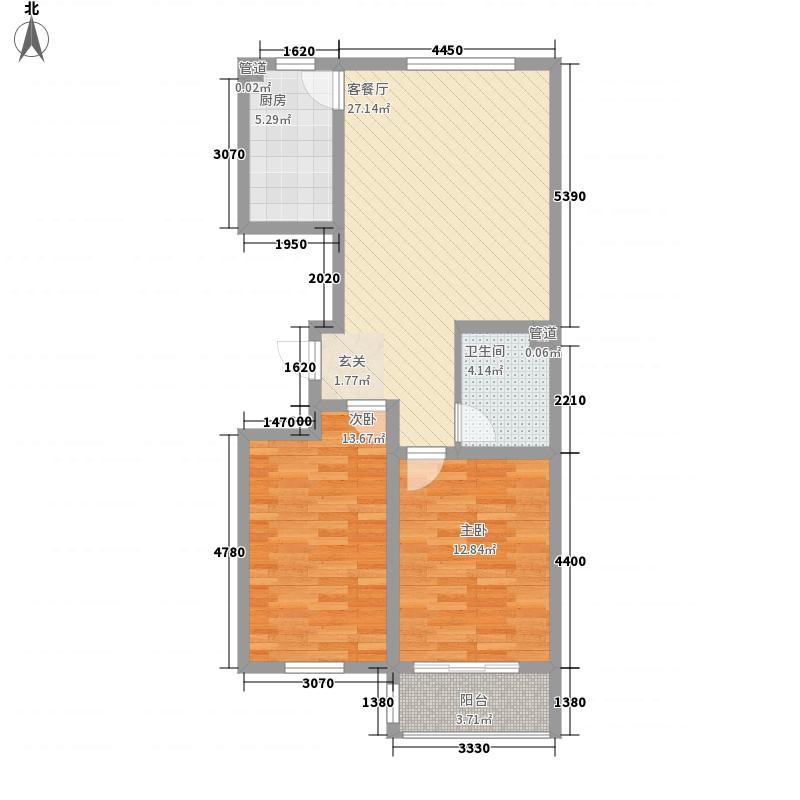 都市新城G户型2室2厅1卫1厨