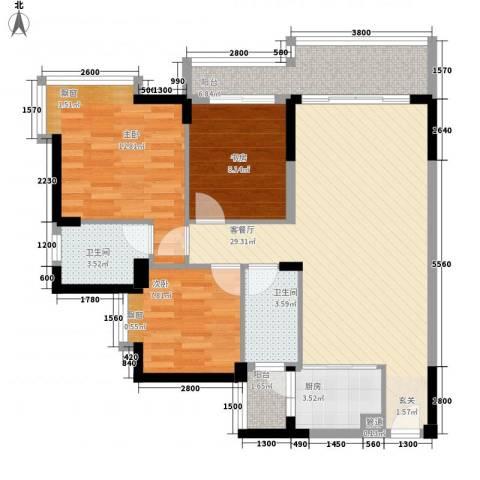 祥圣华苑3室1厅2卫1厨77.45㎡户型图