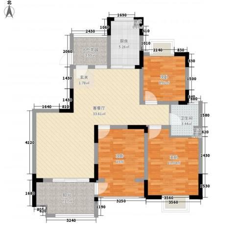 华宸金岸世家3室1厅1卫1厨127.00㎡户型图