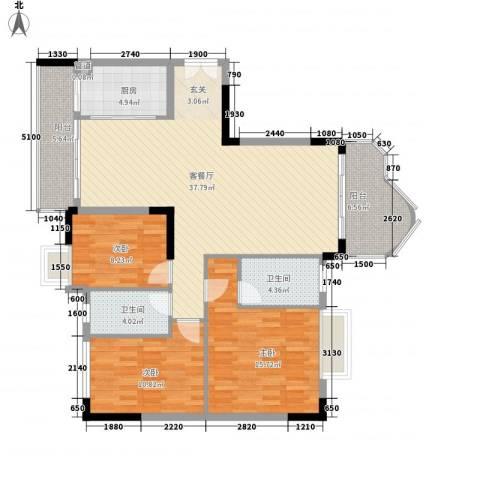 云山熹景3室1厅2卫1厨138.00㎡户型图