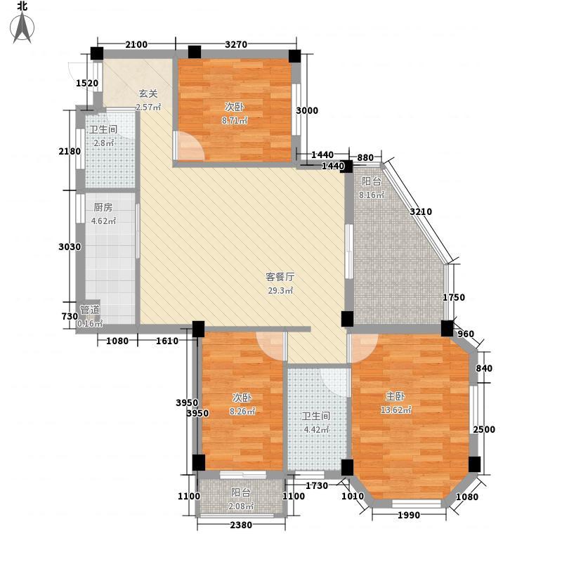 都会华彩5#楼平层02户型3室2厅2卫1厨