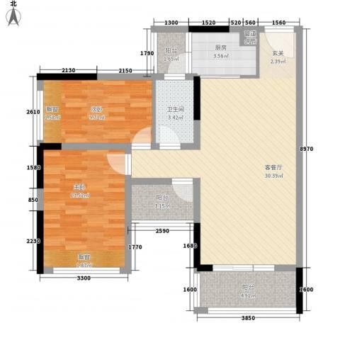 阳光海岸宽寓2室1厅1卫1厨70.42㎡户型图