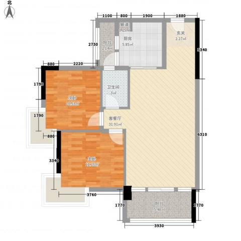 华轩居2室1厅1卫1厨76.00㎡户型图