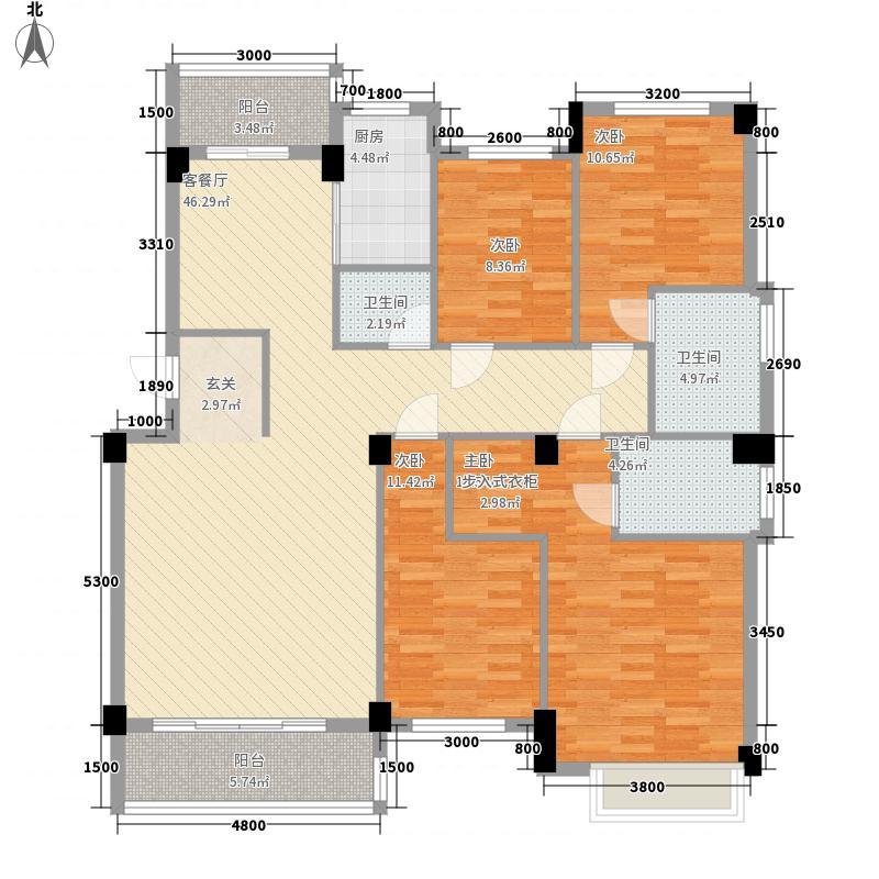 天华美地142.46㎡北区16#3-7层01户型4室2厅2卫1厨