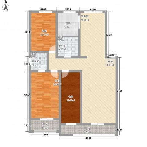 山青海蓝3室1厅2卫1厨158.00㎡户型图