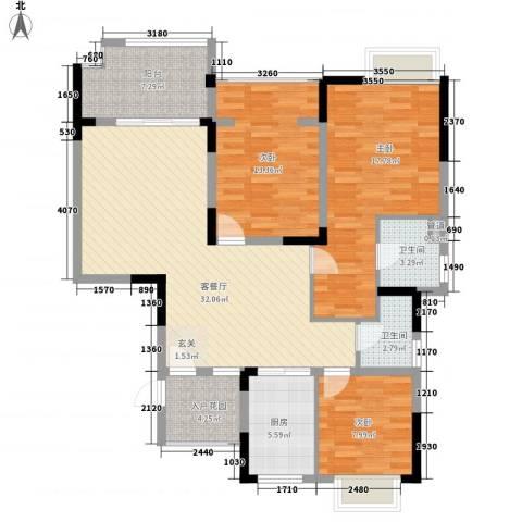 华宸金岸世家3室1厅2卫1厨135.00㎡户型图