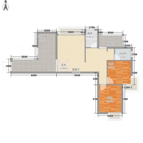 海滨花园2室1厅1卫1厨77.17㎡户型图