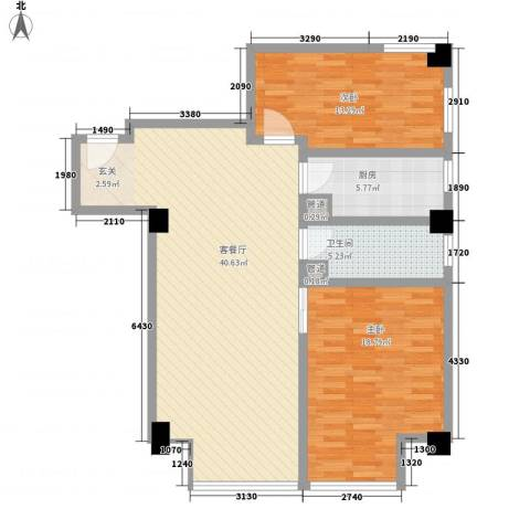 壹克拉2室1厅1卫1厨123.00㎡户型图