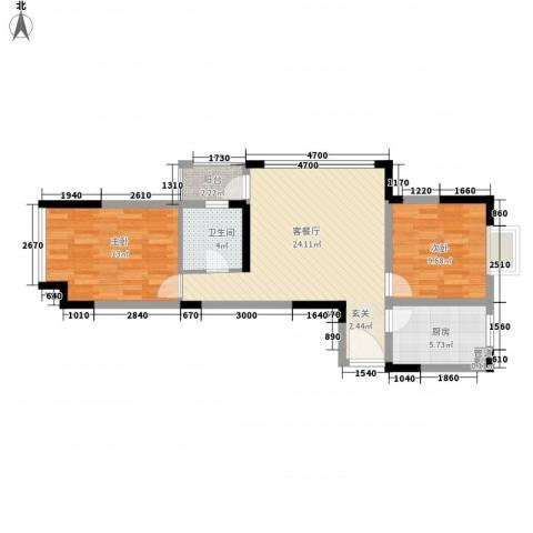 华宸金岸世家2室1厅1卫1厨85.00㎡户型图