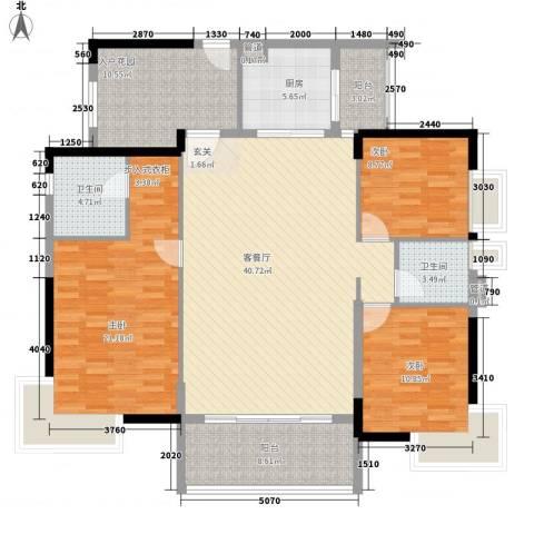 清华园3室1厅2卫1厨137.00㎡户型图