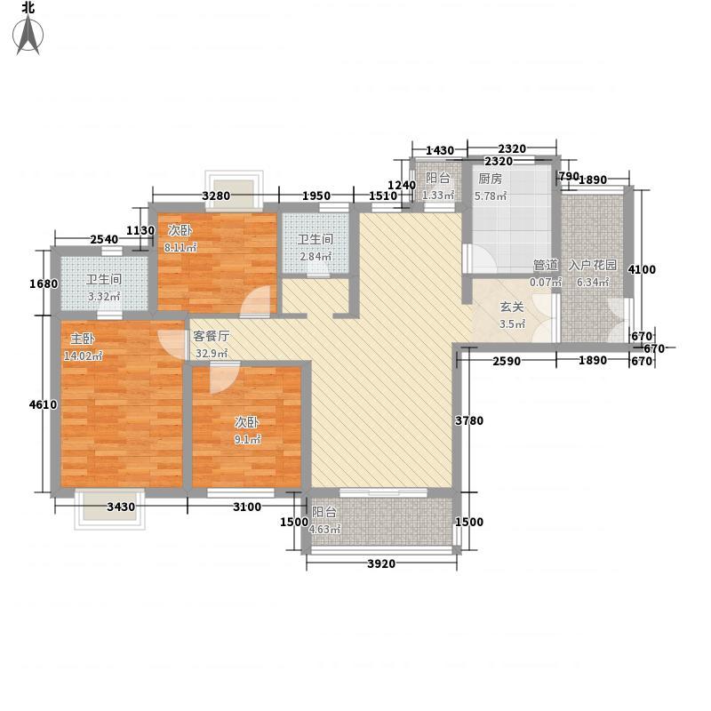 天鹅湖熙园128.00㎡标准层A户型3室2厅2卫