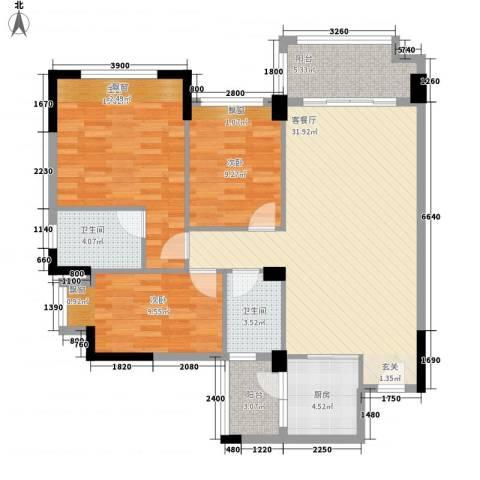 恒信花园3室1厅2卫1厨123.00㎡户型图