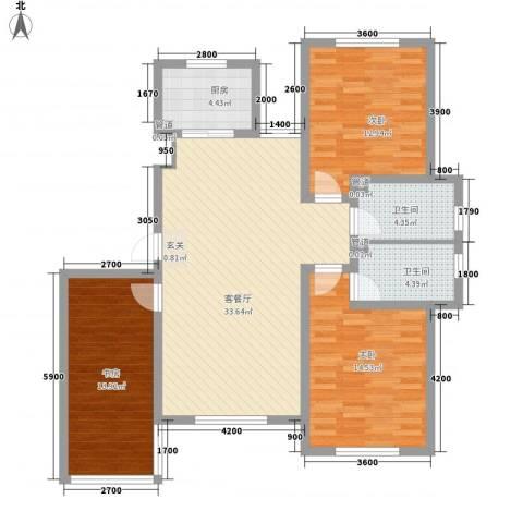 七里香堤3室1厅2卫1厨126.00㎡户型图