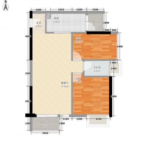荷兰水乡巧克力2室1厅1卫1厨78.00㎡户型图