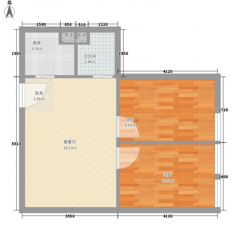 和扬英郡65.25㎡公寓东户型2室1厅1卫1厨