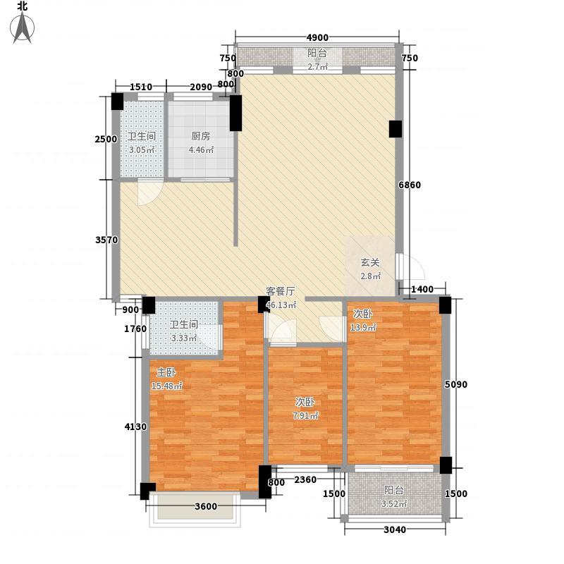 天华美地118.46㎡北区16#首层04户型3室2厅2卫1厨