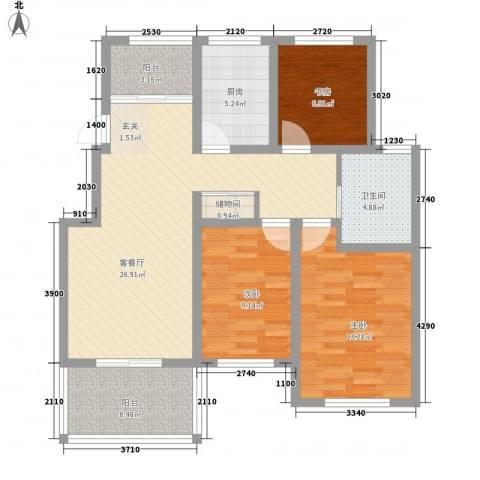 世茂东都3室1厅1卫1厨113.00㎡户型图