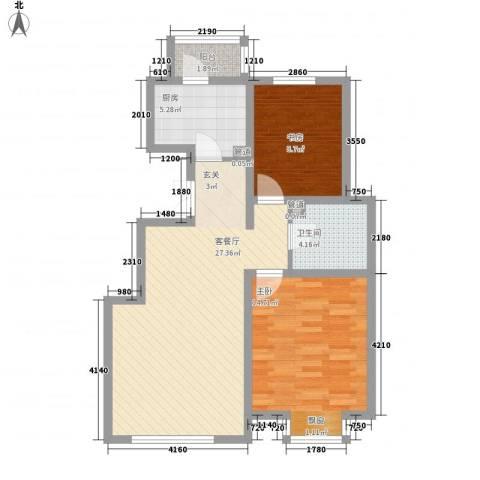 凤凰阁2室1厅1卫1厨90.00㎡户型图
