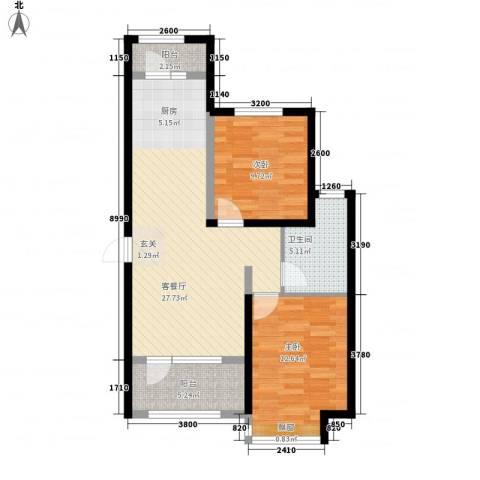 昊宇 山海湾2室1厅1卫0厨88.00㎡户型图