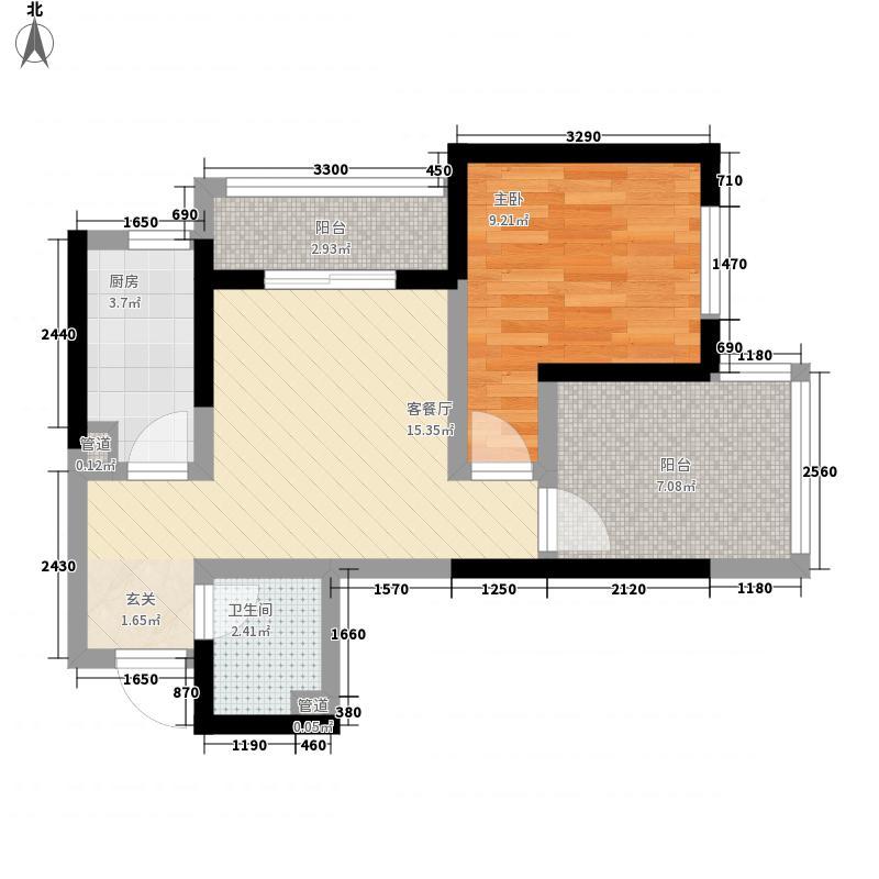 美景鸿城62.00㎡二期一批1-5户型1室1厅1卫1厨