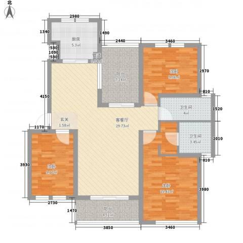 世茂东都3室1厅2卫1厨128.00㎡户型图