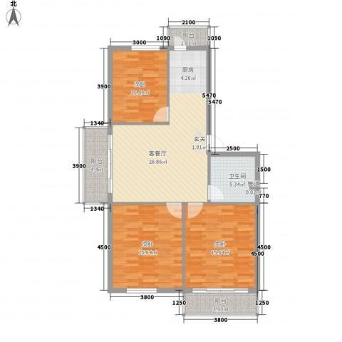 民航宿舍3室1厅1卫0厨117.00㎡户型图
