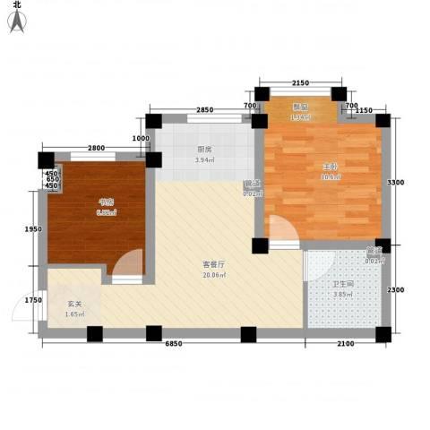七里香堤2室1厅1卫0厨61.00㎡户型图