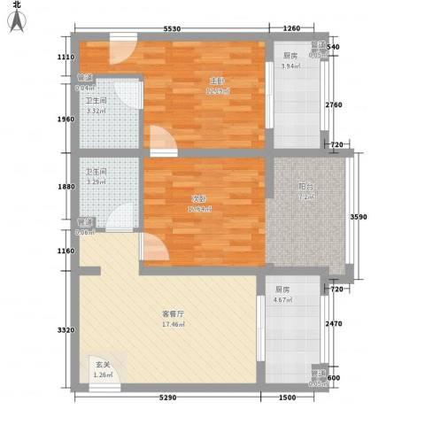 领先心城2室1厅2卫2厨90.00㎡户型图