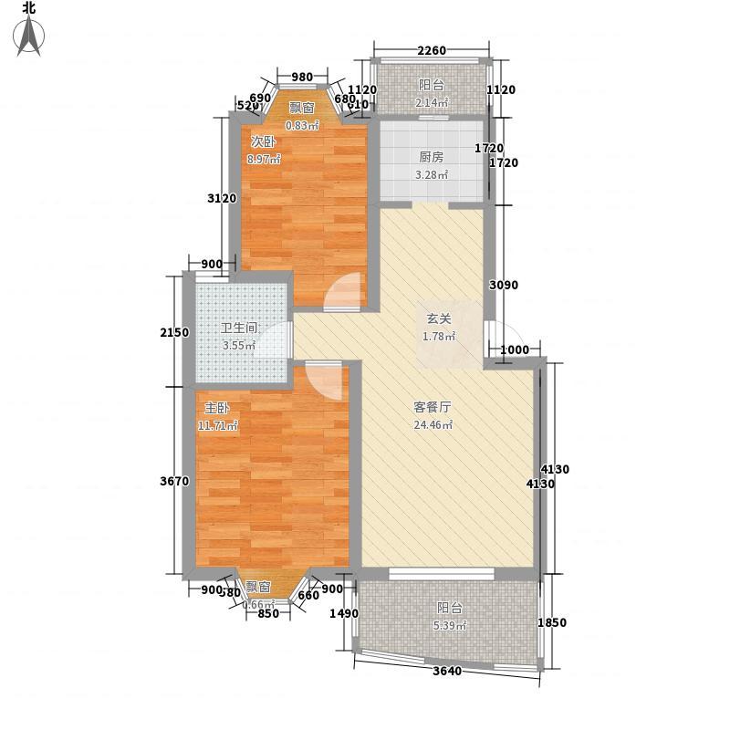 海翔花园户型2室2厅1卫1厨