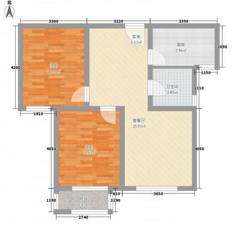 宁东家园2室1厅1卫1厨89.00㎡户型图