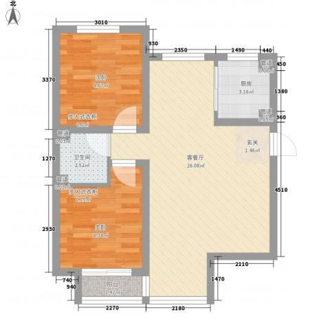 康馨家园2室1厅1卫1厨73.00㎡户型图
