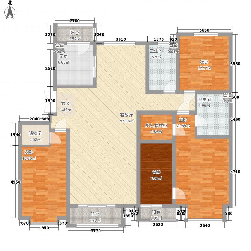 好景山庄185.40㎡四期37、38、39、40、44号楼04户型4室2厅2卫1厨