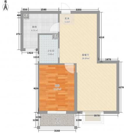 康馨家园1室1厅1卫1厨73.00㎡户型图
