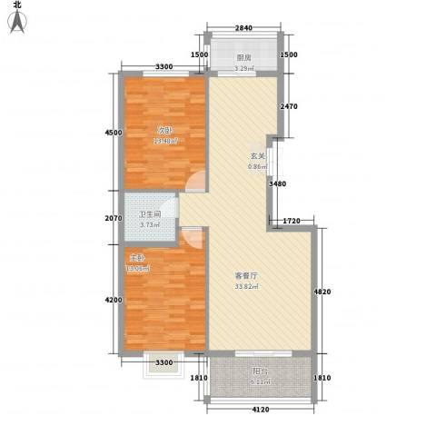 新恒生大厦2室1厅1卫1厨103.00㎡户型图