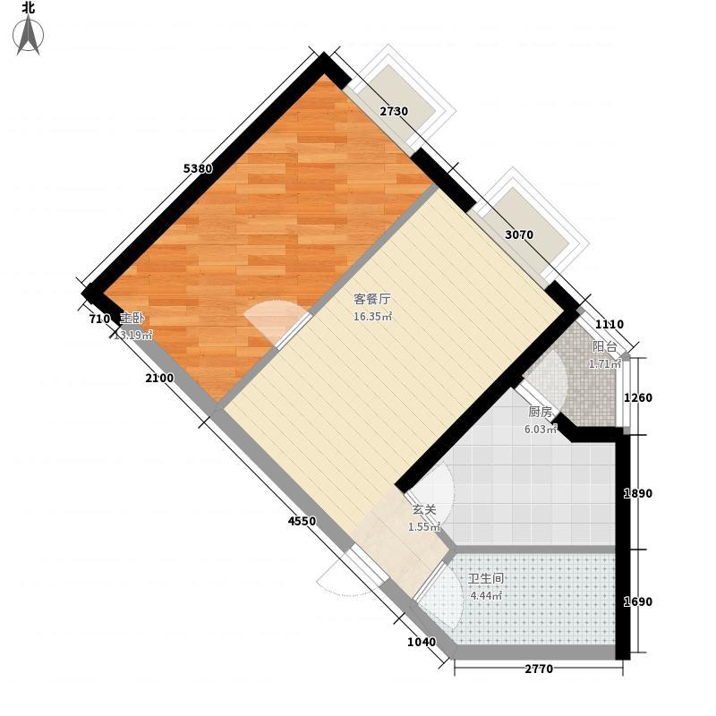 矩阵一期54.27㎡三期18号楼A户型2室1厅1卫1厨