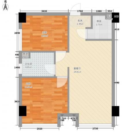 百丈苑2室1厅1卫1厨72.00㎡户型图