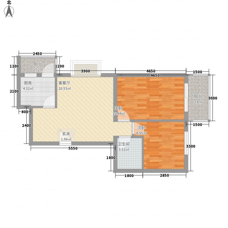 北京新干线78.50㎡16#A户型2室2厅1卫1厨