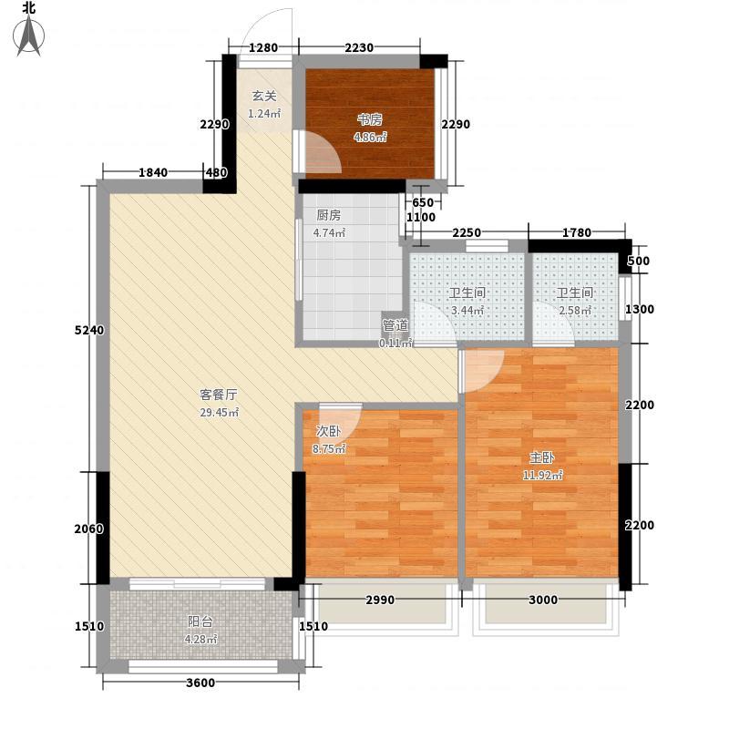 汇乔金色名都3室1厅2卫1厨88.00㎡户型图