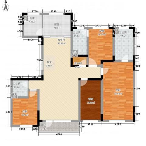 惠园公寓4室1厅3卫2厨190.00㎡户型图