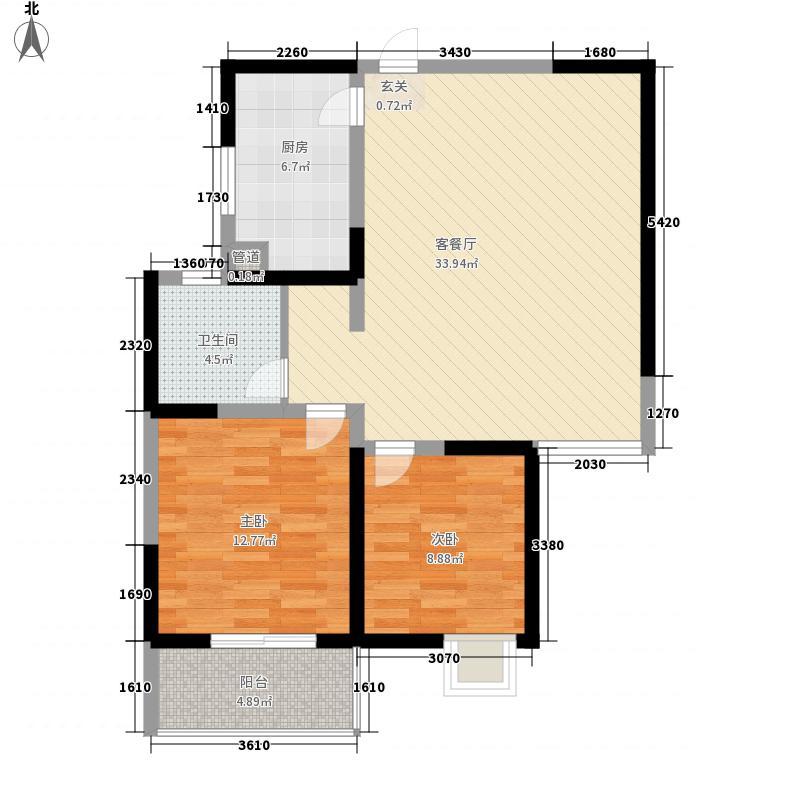 汉飞金沙国际12.00㎡17-东西3户户型2室2厅1卫1厨