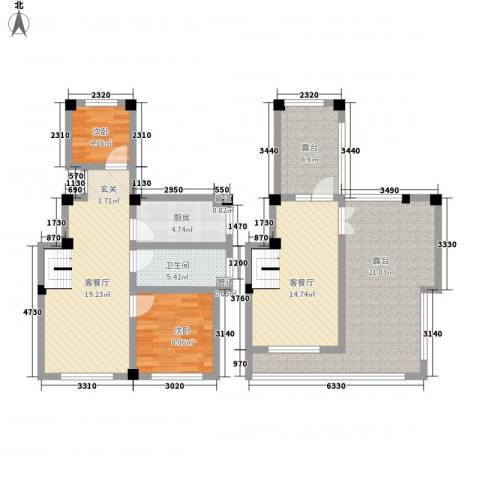 伴山蓝庭2室2厅1卫1厨122.00㎡户型图